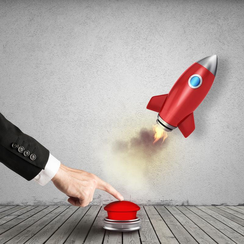 Businessman launches rocket pushing a red button. 3D Rendering. Concept of innovation and entrepreneurship. 3D Rendering stock illustration