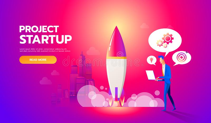 Businessman launches rocket into the sky. Business startup concept vector flat illustration. Employee oversees the. Takeoff of a spaceship vector illustration