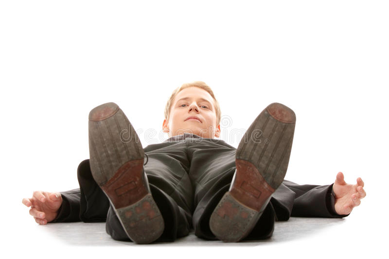 Download Businessman Laying Down In A Suit Stock Image - Image: 10784361