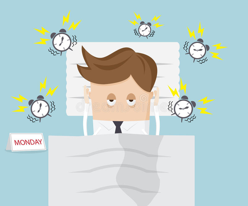 Businessman lazy in bed on monday royalty free illustration
