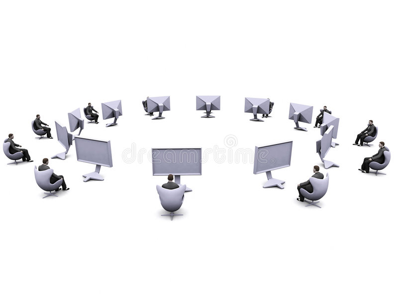 Businessman and lcd screens stock photo