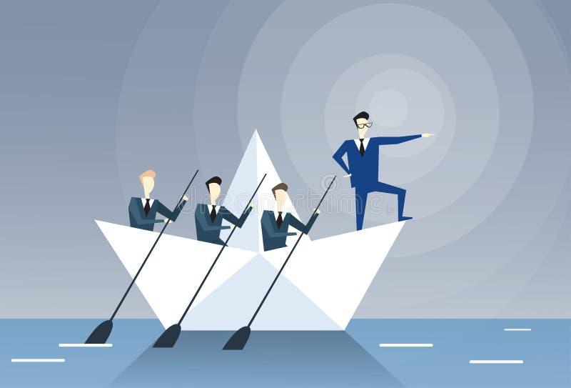 Businessman Leading Business People Team Swim In Boat Teamwork Leadership Concept. Flat Vector Illustration stock illustration