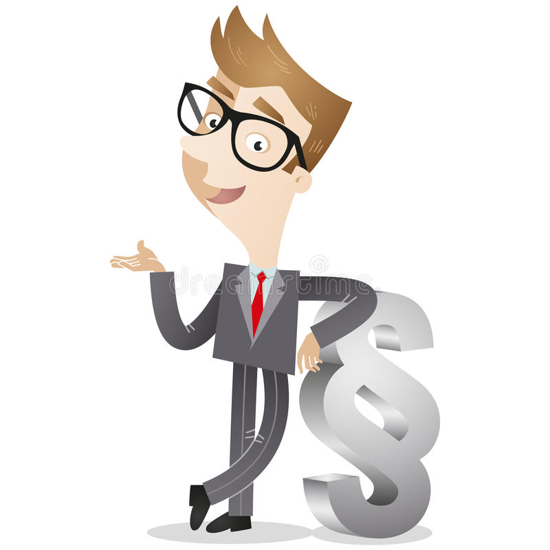 Businessman leaning against paragraph. Vector illustration of a smiling cartoon businessman/lawyer leaning against a huge paragraph sign stock illustration