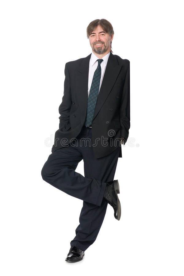 Businessman Leaning On An Invisible Wall Royalty Free Stock Image