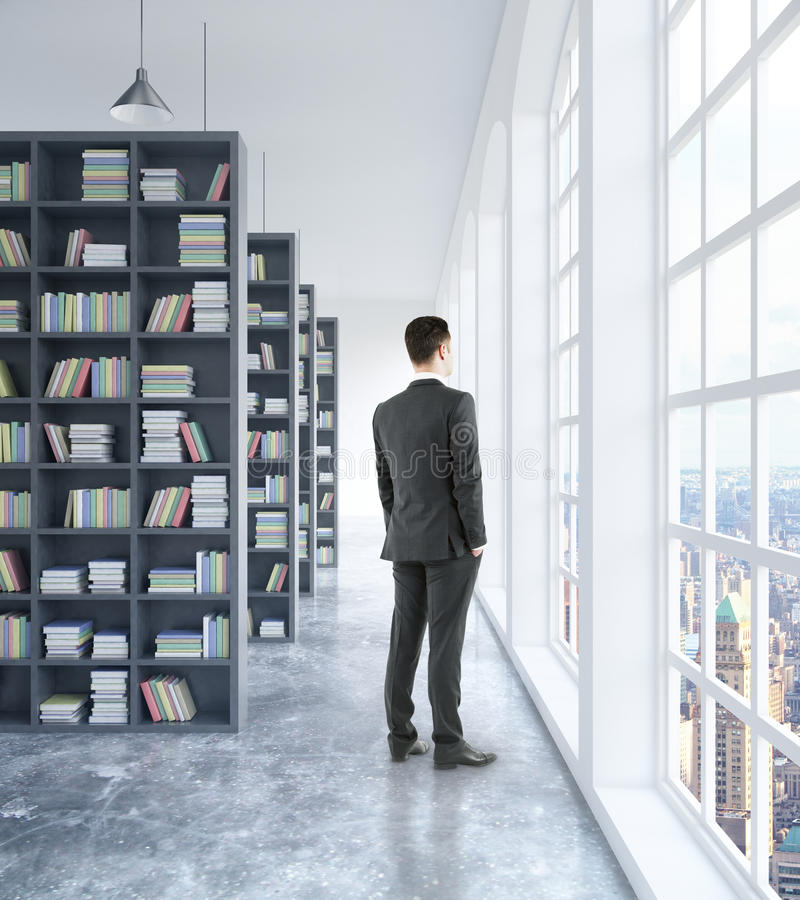 Download Businessman In Library Interior Stock Illustration