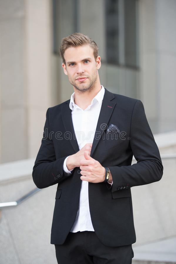 Businessman lifestyle. Fashionable young successful businessman. Businessman handsome attractive office worker confident royalty free stock photo
