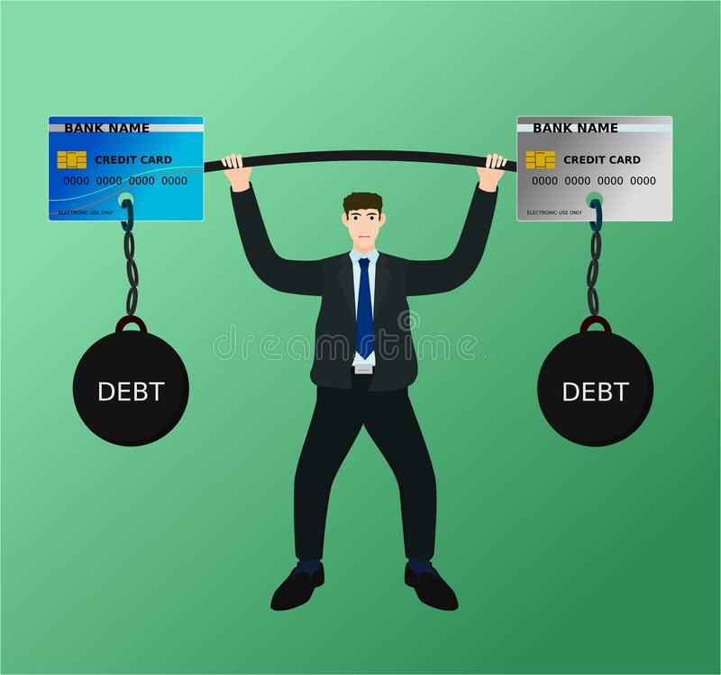 Businessman lift barbell credit card debt with difficulty. Businessman lift heavy barbell credit card debt with difficulty , vector cartoon royalty free illustration