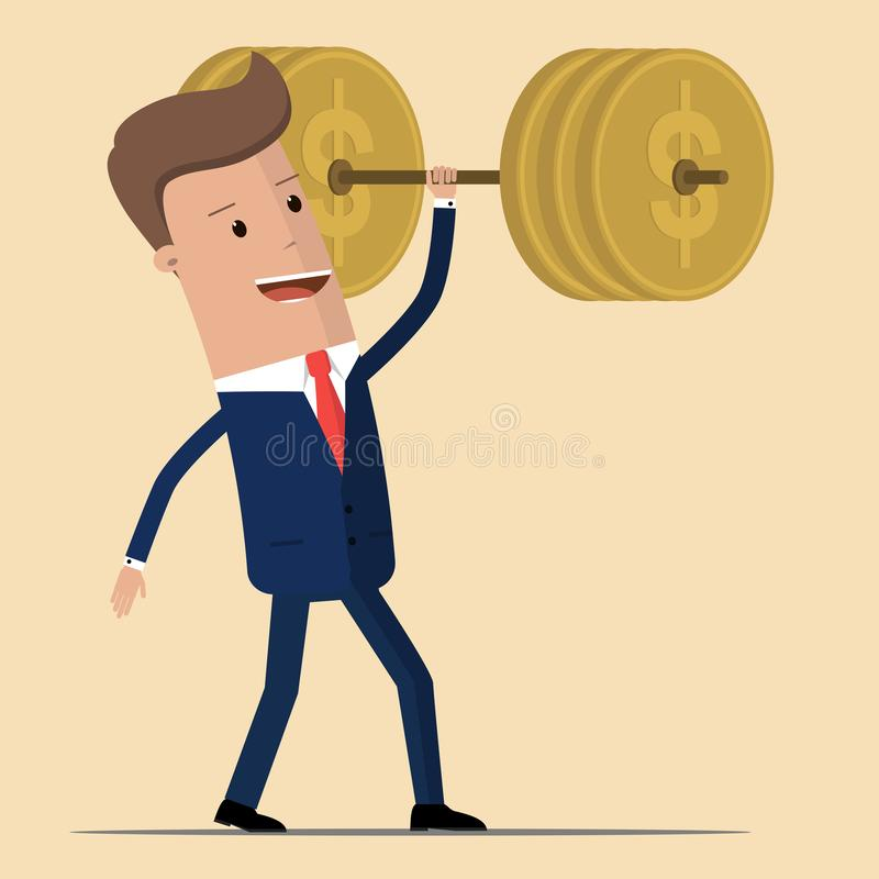 Businessman lifting barbell made of golden coin. Vector illustration for business financial strength and financial health metaphor vector illustration
