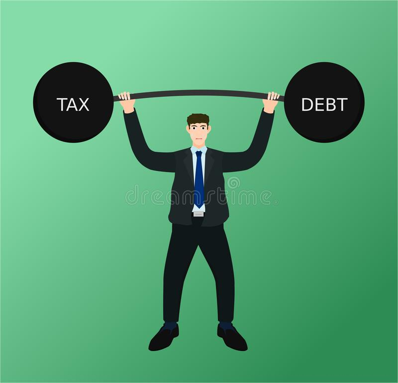 Businessman lifting barbell tax and debt concept. Businessman lifting heavy barbell tax and debt with difficulty , vector cartoon royalty free illustration
