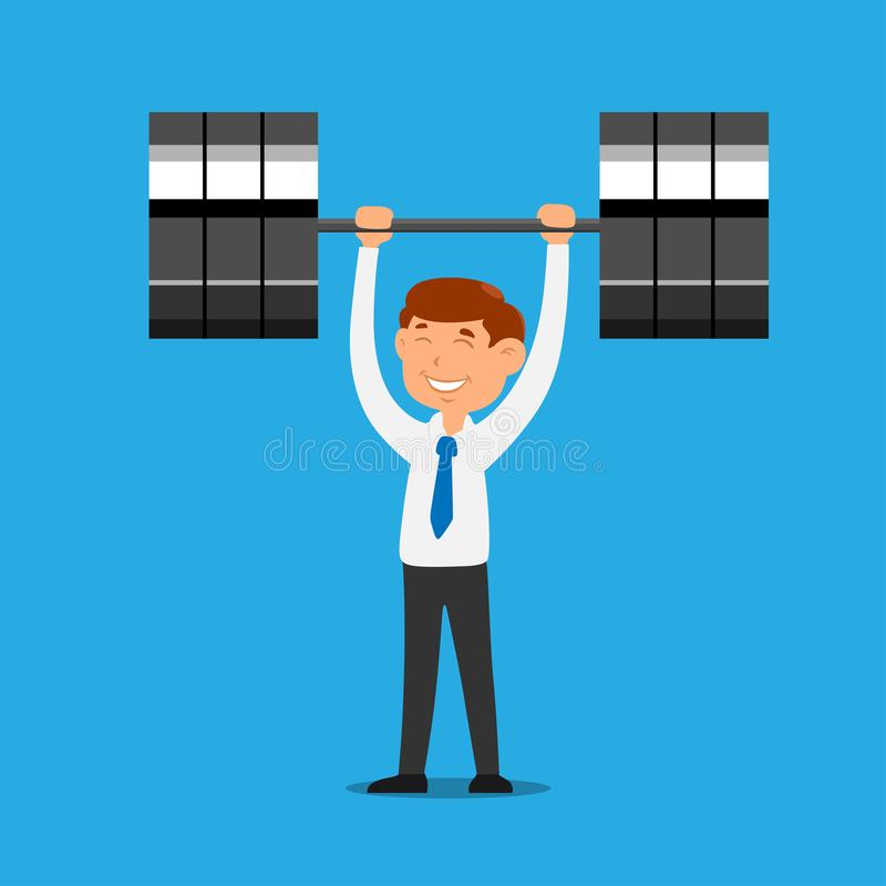 Businessman lifting weight barbell business challenge concept cartoon character vector stock illustration