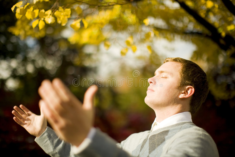 Businessman light. Single white handsome businessman standing with eyes closed and arms open feeling the sunlight stock photo
