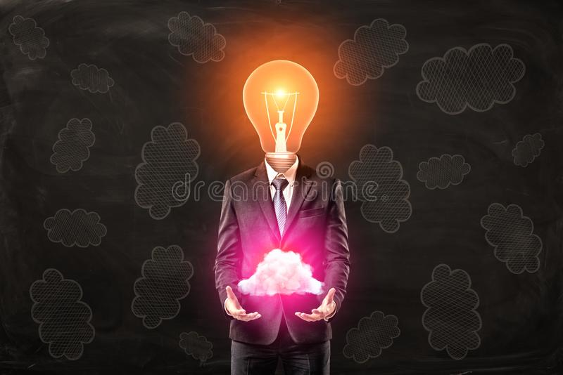 Businessman with light bulb head holding neon pink cloud in hands on black cloud pattern background royalty free illustration
