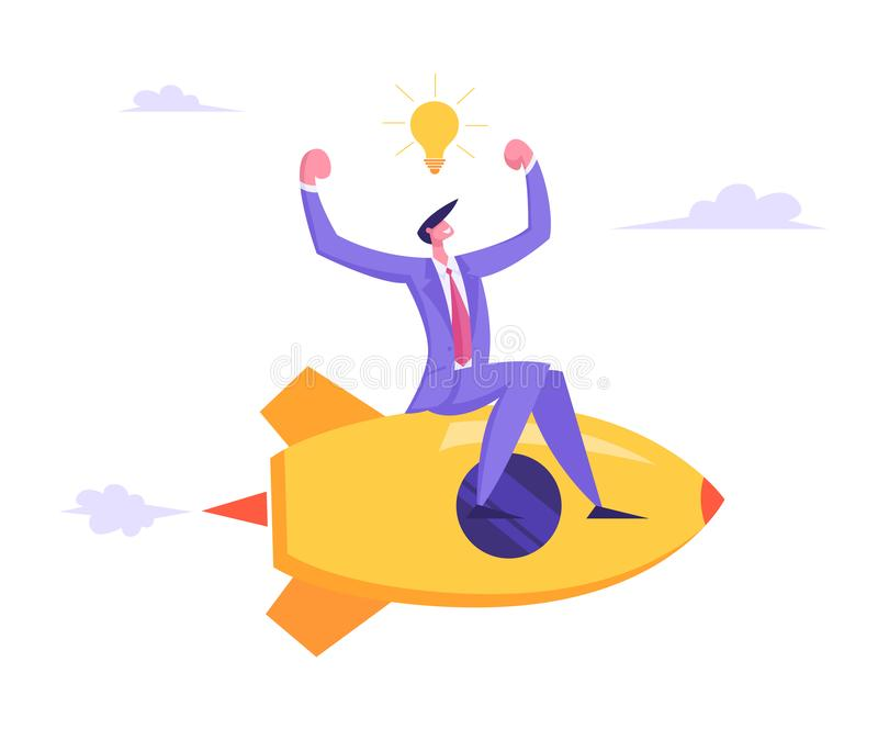 Businessman with Light Bulb over Head Demonstrating Muscles Flying on Rocket Engine Racing to Success stock illustration