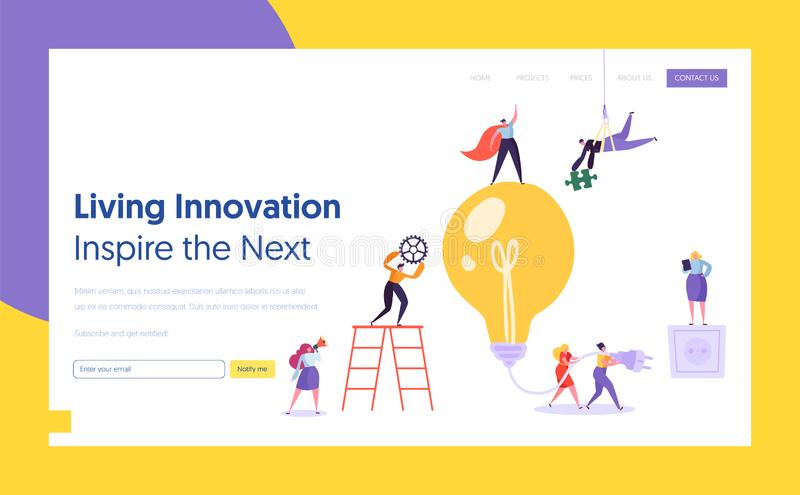 Businessman Lightbulb Idea Concept Landing Page. Innovation, Brainstorming, Creativity Concept Teamwork. Character Working Together on New Project Website or stock illustration