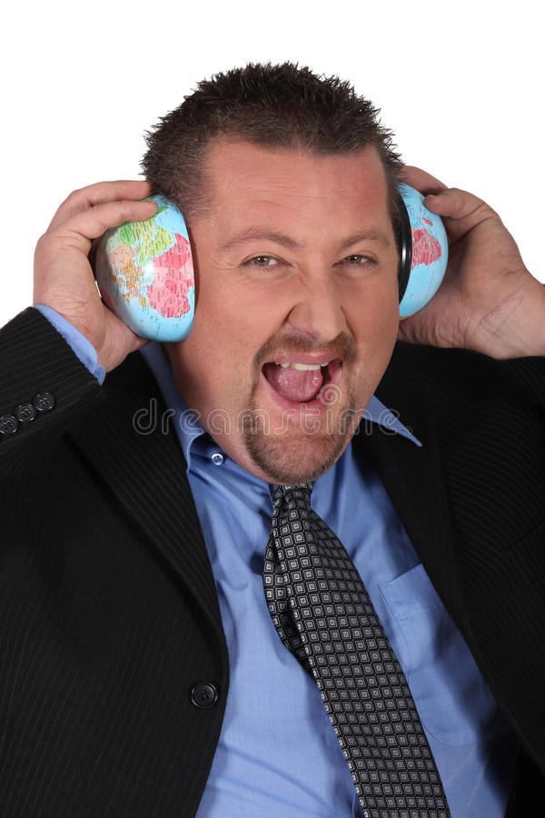 Businessman Listening To The World Stock Images