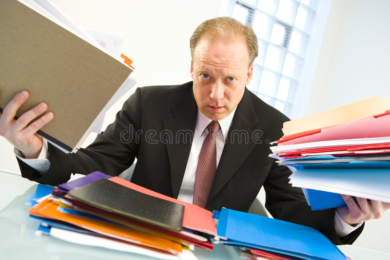 Download Businessman Loaded With Work Stock Image - Image of burden, looking: 5645953