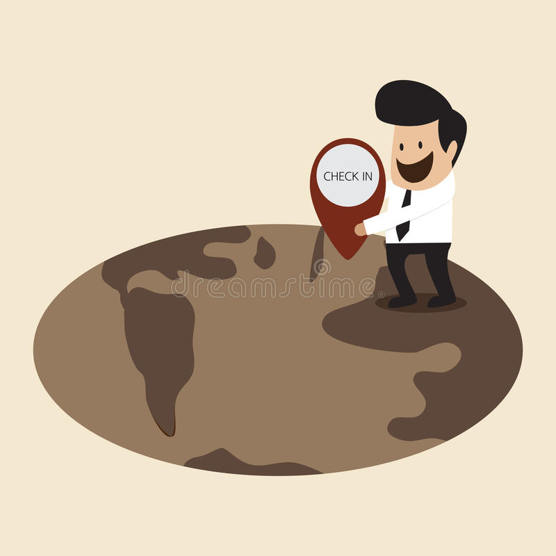 Businessman is locating his location on earth. Vector cartoon of Businessman is locating his location on earth stock illustration