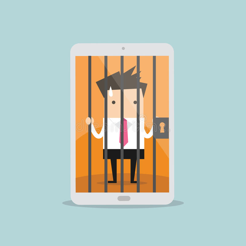 Businessman locked in smartphone. royalty free illustration