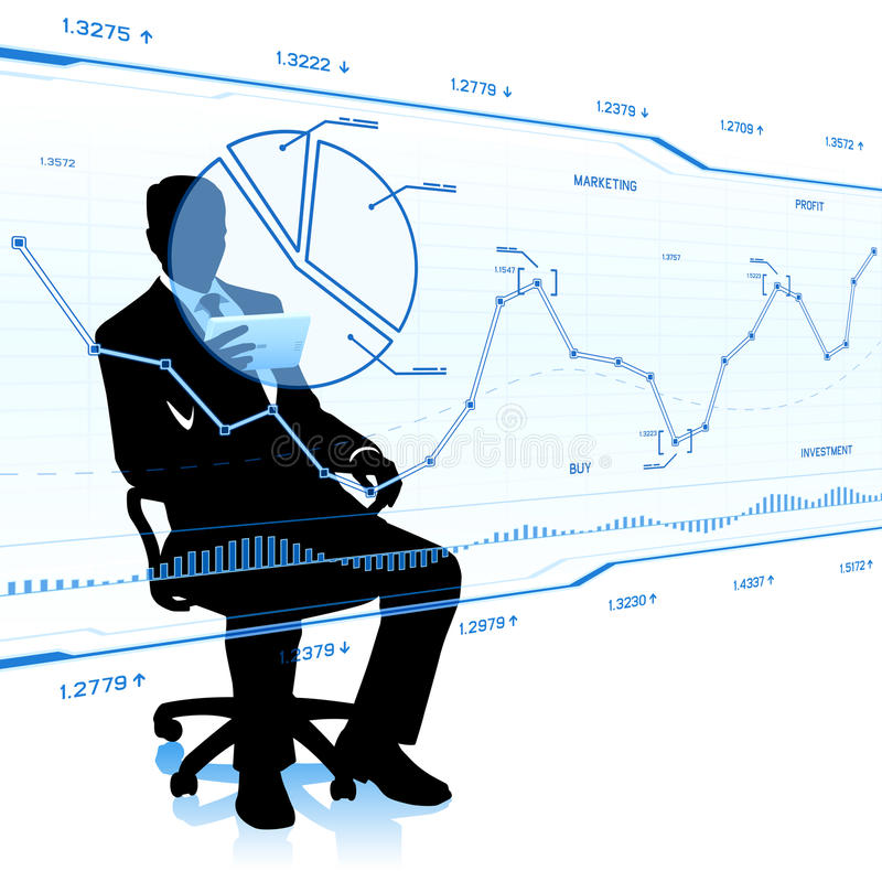 Businessman look at glass charts. royalty free stock photos