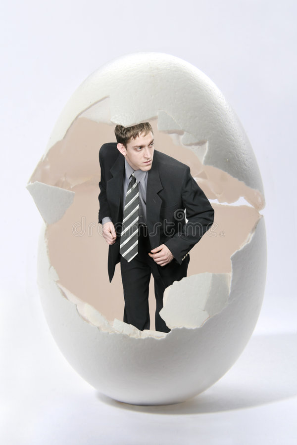 Businessman Look Out Big Egg Royalty Free Stock Photos
