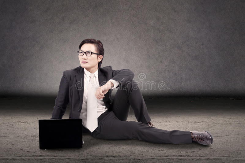 Businessman looked think something