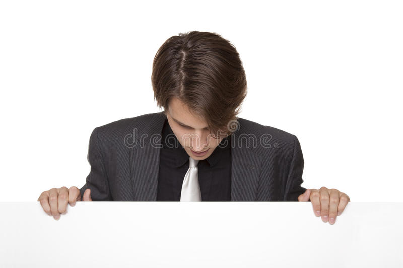 Businessman - Lookind Down Blank Sign Stock Image