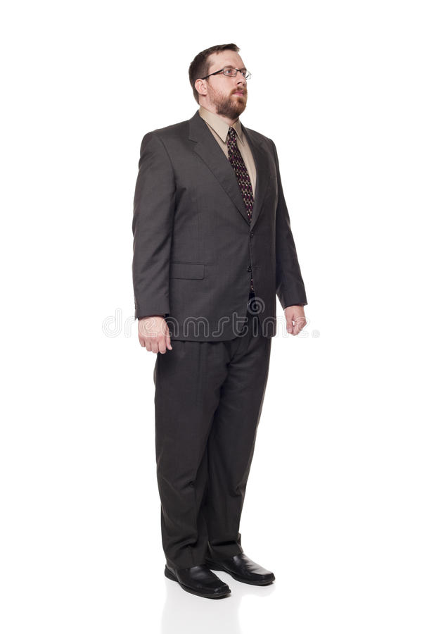 Businessman looking away full length. Isolated full length studio shot of the front view of a businessman in full suit looking away from the camera stock photography