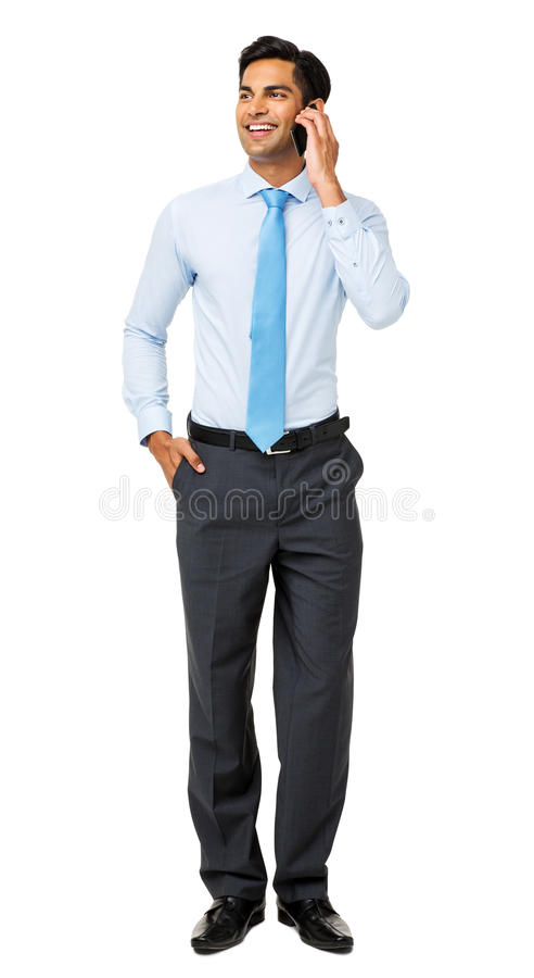 Businessman Looking Away While Using Smart Phone royalty free stock images