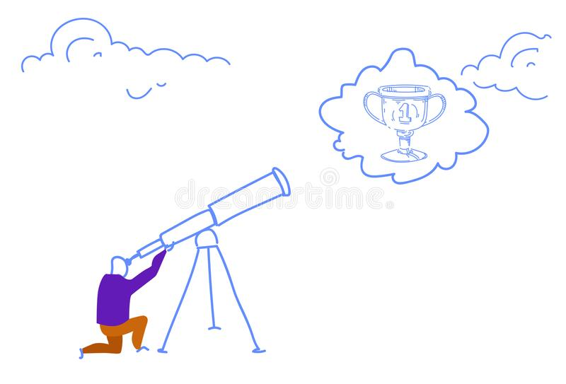 Businessman looking binocular business vision winner cup trophy champion first place concept horizontal sketch doodle royalty free illustration