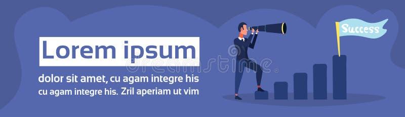Businessman looking binocular ladder business vision success flag strategy concept flat man cartoon character blue vector illustration