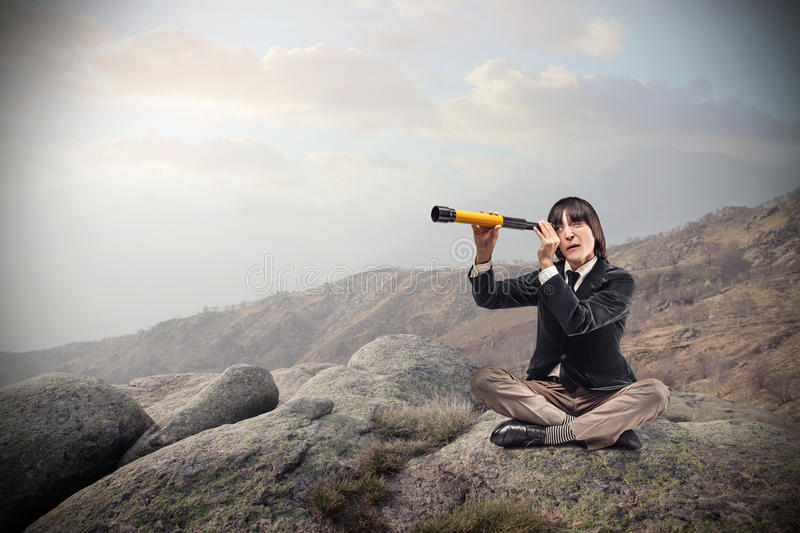 Download Businessman Looking Through A Binoculars Stock Image - Image of outdoor, future: 39513733