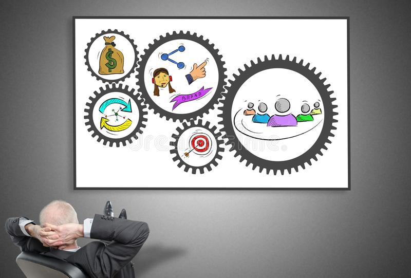 Businessman looking at business strategy concept. Relaxed businessman looking at business strategy concept on a whiteboard stock photos
