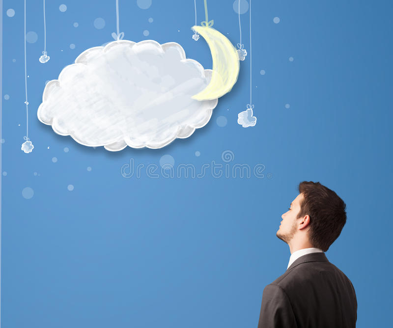 Businessman looking at cartoon night clouds with moon. Hanging down royalty free illustration