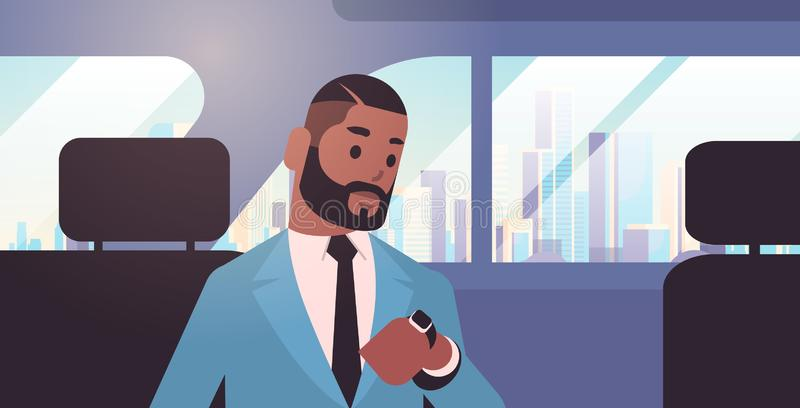 Businessman looking at clock checking time african american passenger sitting on back seat in taxi cab city stock illustration