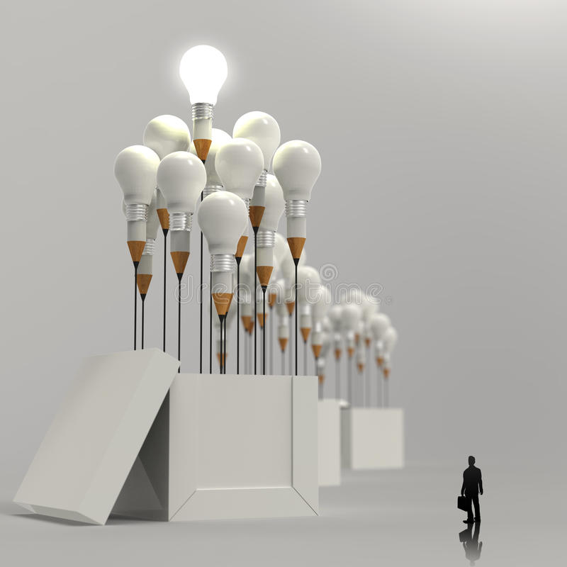 Businessman looking at 3d pencil and light bulb. Concept outside the box as creative and leadership concept vector illustration