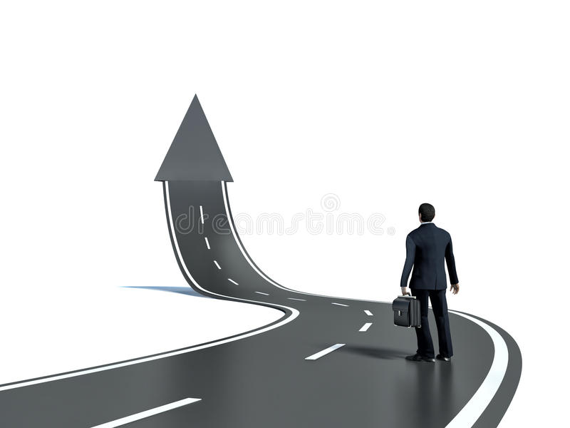 Businessman looking at 3d road upgoing arrow concept royalty free illustration