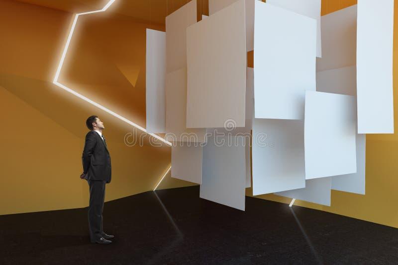 Businessman looking at billboards. Businessman looking at empty billboards in abstract exhibition room. Mock up, 3D Rendering stock images