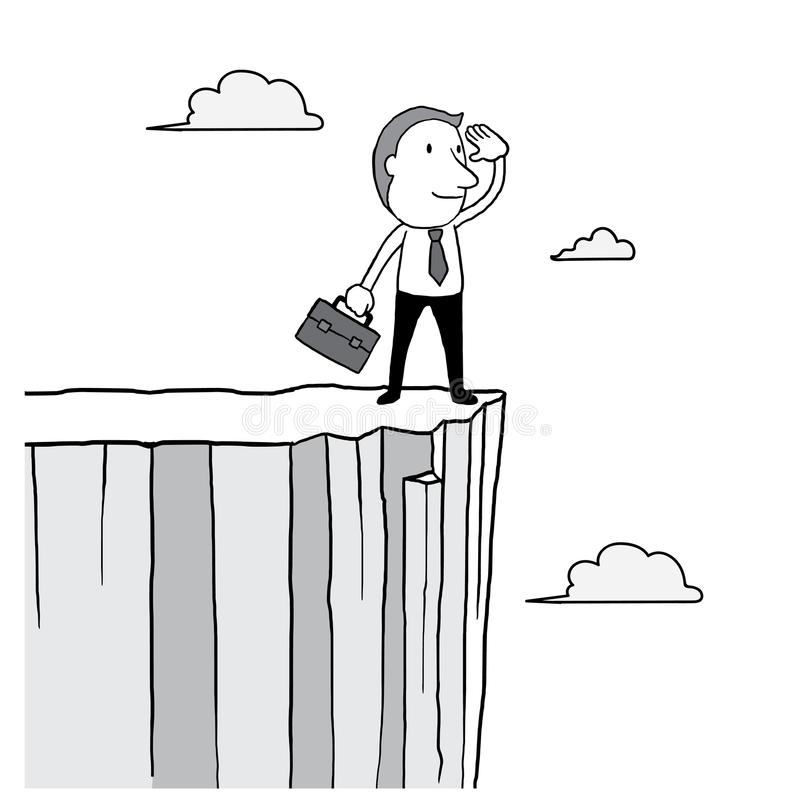 Businessman looking forward and standing on high cliff over cloud in the sky. leader vision concept. isolated illustration. Outline hand drawn doodle stock illustration