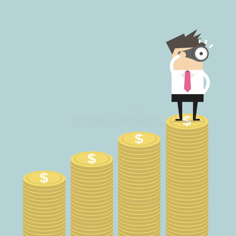 Businessman looking future on money graph. Vector illustration stock illustration