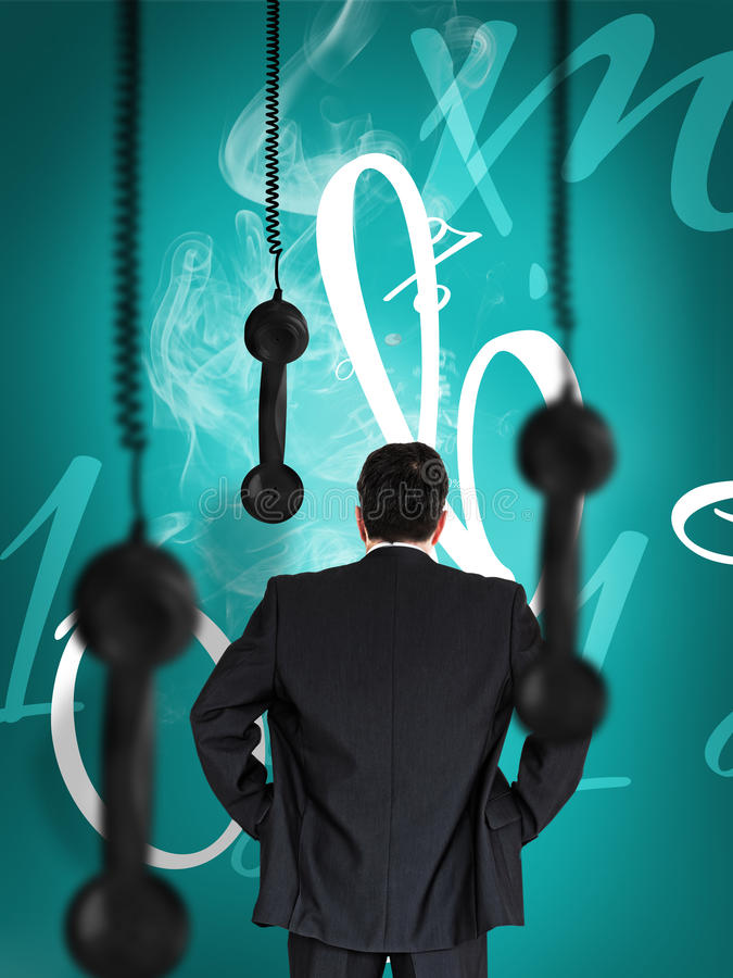 Businessman looking at hanging black telephone receiver vector illustration