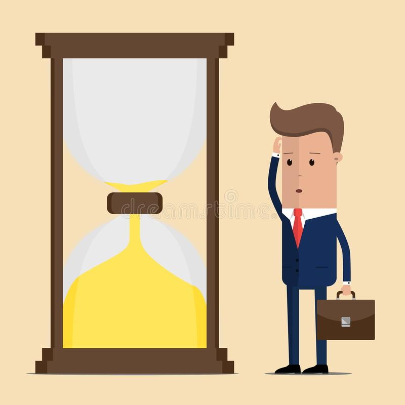 Businessman is looking at hourglass. Vector illustration stock illustration