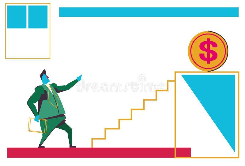 Businessman looking ladder podium dollar coin money growth wealth business motivation concept businessman financial stock illustration