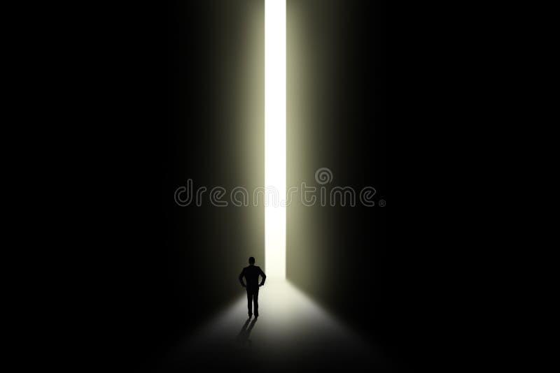 Businessman looking at light in doorway stock illustration