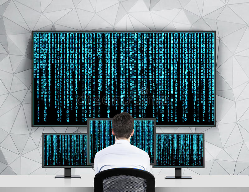 Businessman looking matrix. Businessman looking to screen with matrix background stock image