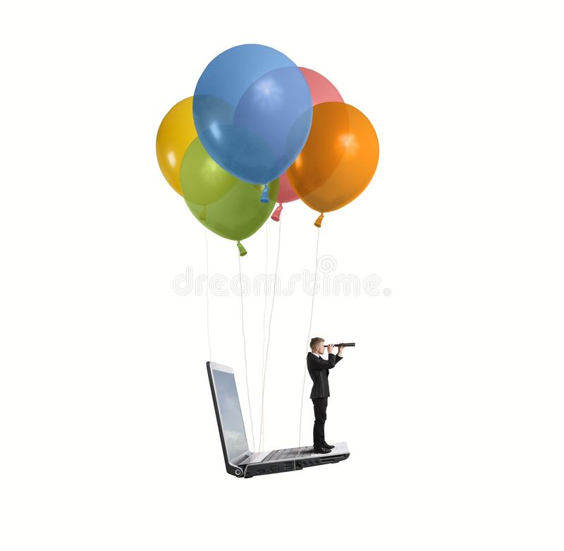 Businessman looking for new business stock images