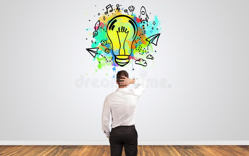 Businessman looking for new idea stock photos