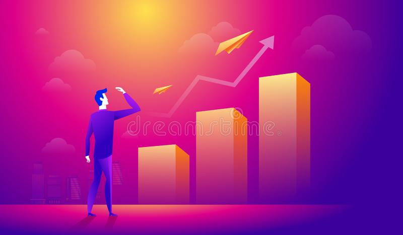 Businessman looking at a paper plane over growing graph arrow. Business people searching for new opportunity vector illustration