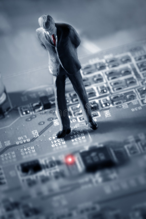 Download Businessman Looking At A Red Light Stock Image - Image of investment, hardware: 453655