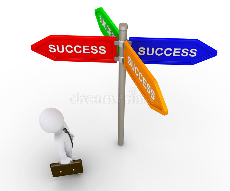 Businessman is looking for the right path to success royalty free illustration
