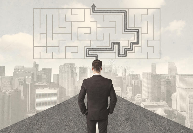 Businessman looking at road with maze and solution vector illustration